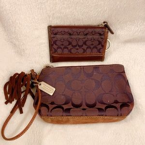 Coach wristlet with matching card case